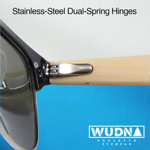 Load image into Gallery viewer, Real Ebony Zebrawood Browline Style RetroShade Sunglasses by WUDN
