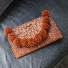 Load image into Gallery viewer, Tangerina Margarita Straw Handwoven Party Clutch, with Pom-poms