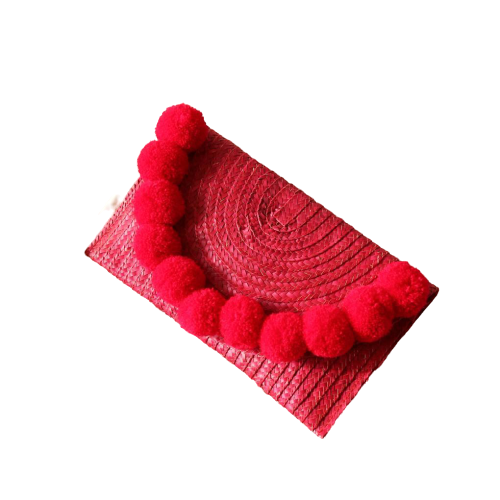 Margarita Straw Pom-pom Handwoven Party Clutch - in Hot Red