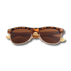 Real Bamboo Tortoise Frame Browline Style RetroShade Sunglasses by WUDN