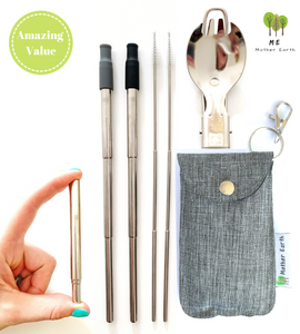 Collapsible Straw and Foldable Spork KIT