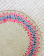 Load image into Gallery viewer, Handwoven Sunburst Mat | 4' Round | Natural Base | Red + Blue