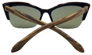 Real Walnut Wood Cat Eyes Sunglasses by WUDN