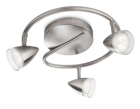 Philips myLiving MAPLE SPIRAL Chrome 3x3W LED Ceiling/Wall Light - LED Bulb Centre Ltd