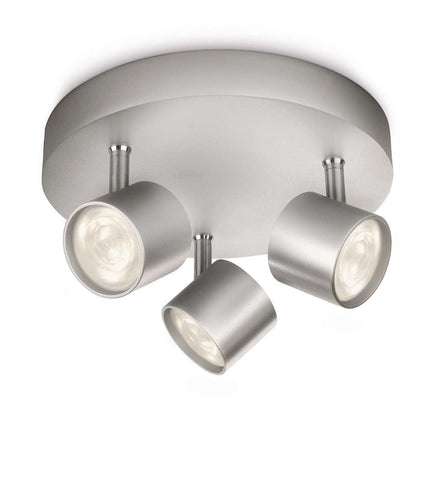 Philips myLiving STAR ROUND SPOT Aluminium 3x3W LED Ceiling Light - LED Bulb Centre Ltd