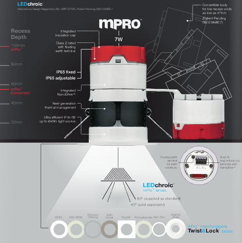 Aurora mPro 7W LED Downlight - Fixed or Adjustable - LED Bulb Centre Ltd