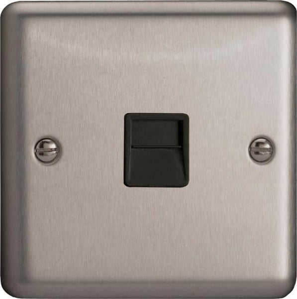 Varilight Classic 1 Gang Telephone Socket - Brushed Steel (Black Inserts) - LED Bulb Centre Ltd