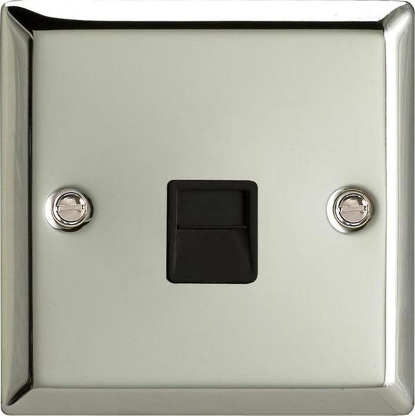 Varilight Classic 1 Gang Telephone Socket - Polished Chrome (Black Inserts) - LED Bulb Centre Ltd