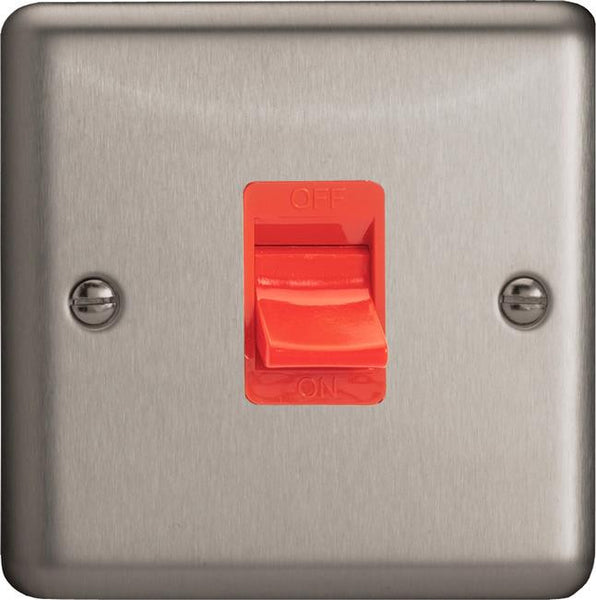 Varilight Classic 45A Cooker Switch - Brushed Steel (Black/White Inserts) - LED Bulb Centre Ltd