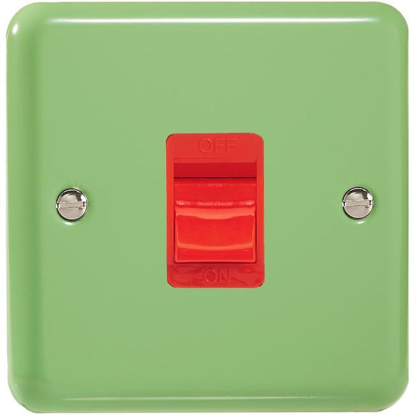 Varilight Classic 45A Cooker Switch - Lily Beryl Green (White Inserts) - LED Bulb Centre Ltd