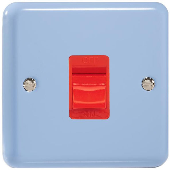 Varilight Classic 45A Cooker Switch - Lily Duck Egg Blue (White Inserts) - LED Bulb Centre Ltd