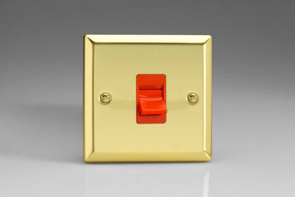 Varilight Classic 45A Cooker Switch - Victorian Brass (Black/White Inserts) - LED Bulb Centre Ltd