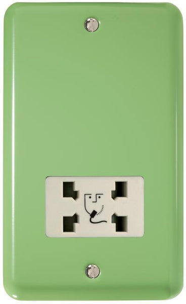 Varilight Classic Dual Voltage Shaver Socket 240V/115V - Lily Beryl Green (White Inserts) - LED Bulb Centre Ltd