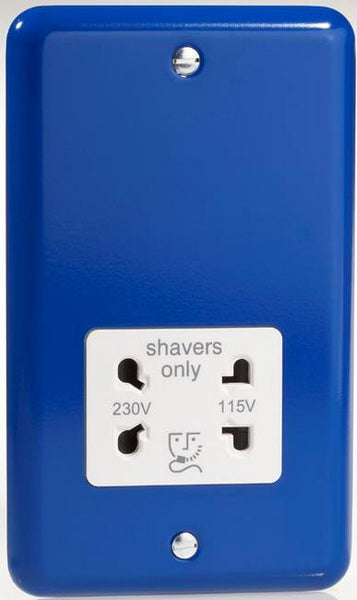 Varilight Classic Dual Voltage Shaver Socket 240V/115V - Lily Reflex Blue (White Inserts) - LED Bulb Centre Ltd