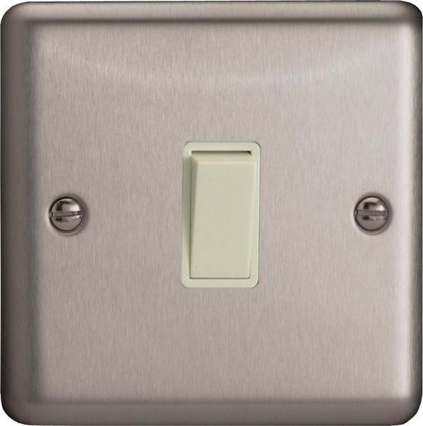 Varilight Classic Rocker Switch - Brushed Steel (White Inserts)