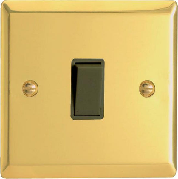 Varilight Classic Rocker Switch - Victorian Brass (Black Inserts) - LED Bulb Centre Ltd