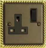 Varilight Classic Standard Switched Sockets - Antique Georgian (Black Inserts) - LED Bulb Centre Ltd