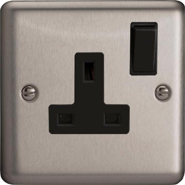 Varilight Classic Standard Switched Sockets - Brushed Steel (Black Inserts) - LED Bulb Centre Ltd