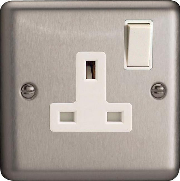 Varilight Classic Standard Switched Sockets - Brushed Steel (White Inserts) - LED Bulb Centre Ltd
