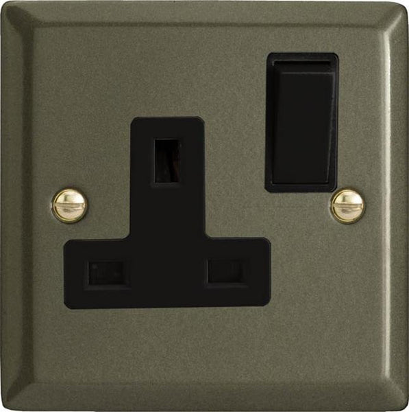 Varilight Classic Standard Switched Sockets - Graphite 21 (Black Inserts) - LED Bulb Centre Ltd