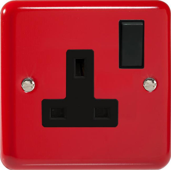 Varilight Classic Standard Switched Sockets - Lily Pillar Box Red (Black Inserts) - LED Bulb Centre Ltd