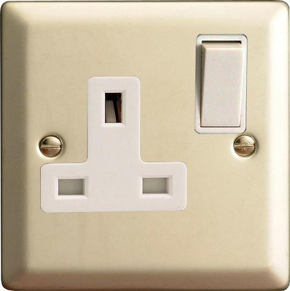 Varilight Classic Standard Switched Sockets - Satin Chrome (White Inserts) - LED Bulb Centre Ltd