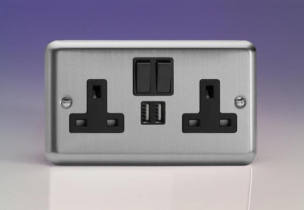 Varilight Classic Standard Switched Sockets with USB - Brushed Steel (Black Inserts) - LED Bulb Centre Ltd