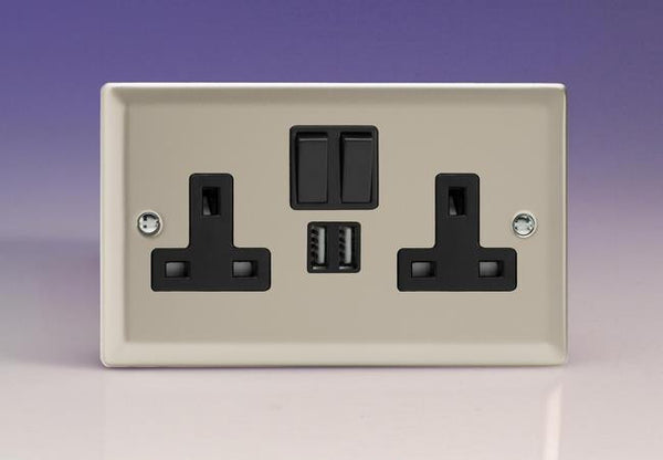 Varilight Classic Standard Switched Sockets with USB - Satin Chrome (Black Inserts) - LED Bulb Centre Ltd