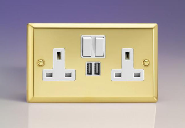 Varilight Classic Standard Switched Sockets with USB - Victorian Brass (White Inserts) - LED Bulb Centre Ltd