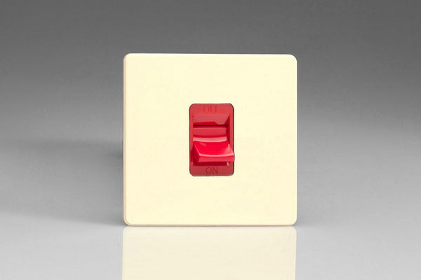 Varilight Screwless 45A Cooker Switch - White Chocolate (White Inserts)
