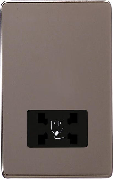 Varilight Screwless Dual Voltage Shaver Socket 240V/115V - Pewter (Black Inserts)