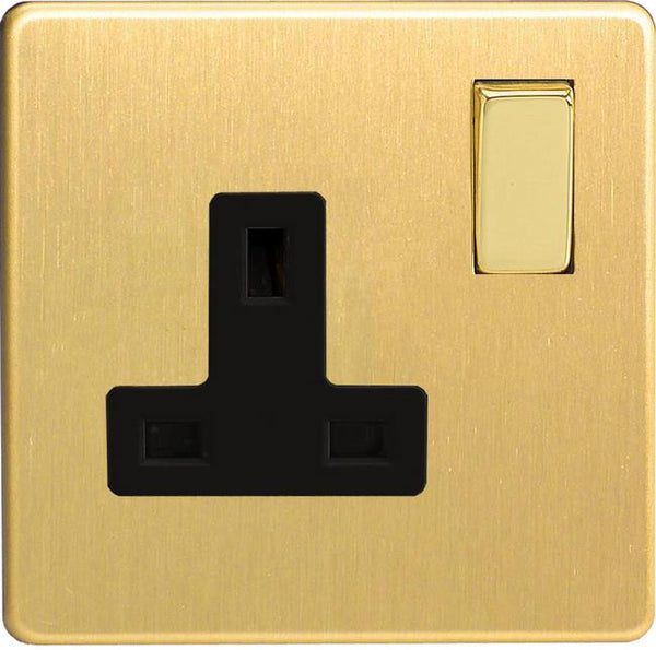 Varilight Screwless Standard Switched Sockets - Brushed Brass (Black Inserts)