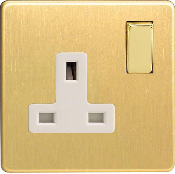 Varilight Screwless Standard Switched Sockets - Brushed Brass (White Inserts)