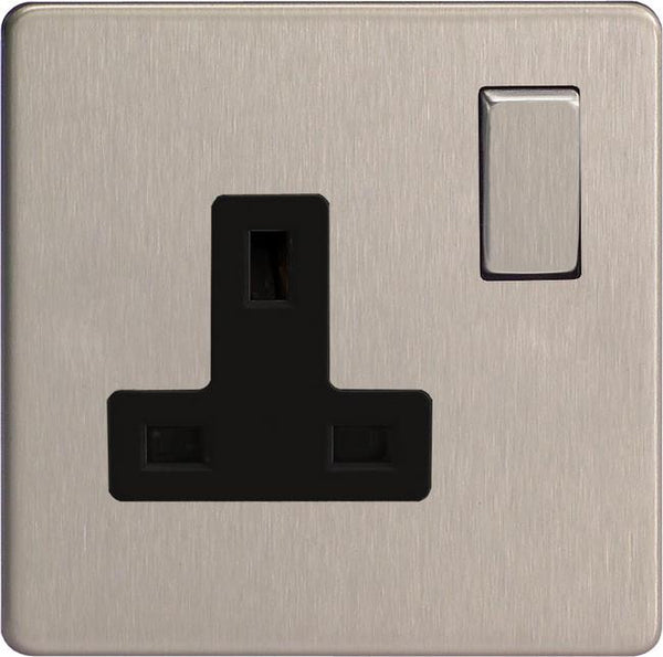 Varilight Screwless Standard Switched Sockets - Brushed Steel (Black Inserts)