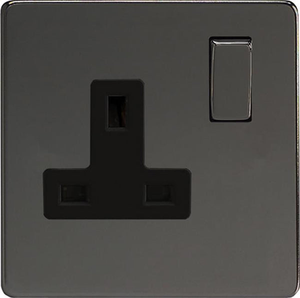 Varilight Screwless Standard Switched Sockets - Iridium Black (Black Inserts)