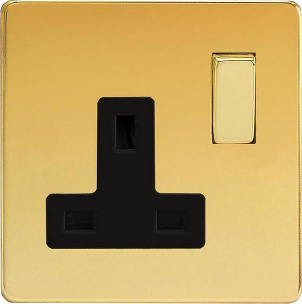 Varilight Screwless Standard Switched Sockets - Polished Brass (Black Inserts)