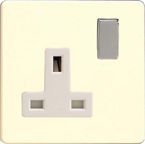 Varilight Screwless Standard Switched Sockets - White Chocolate (White Inserts)