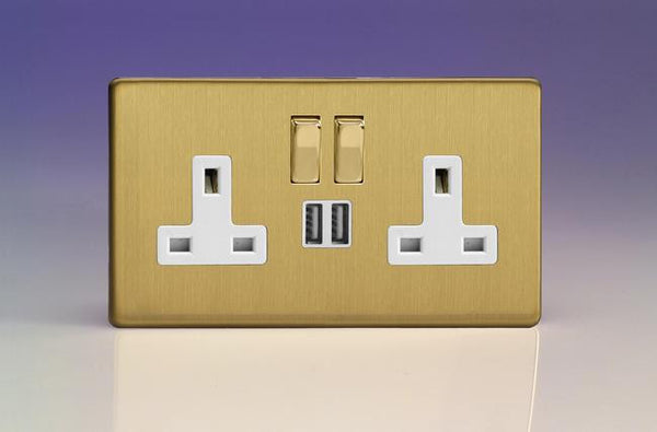 Varilight Screwless Standard Switched Sockets with USB - Brushed Brass (White Inserts)