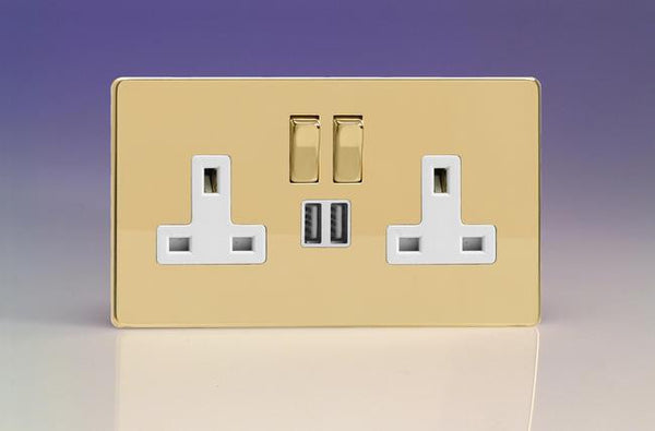 Varilight Screwless Standard Switched Sockets with USB - Polished Brass (White Inserts)