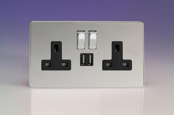 Varilight Screwless Standard Switched Sockets with USB - Polished Chrome (Black Inserts)