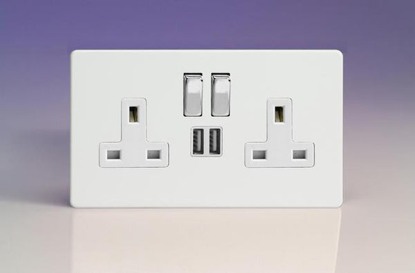 Varilight Screwless Standard Switched Sockets with USB - Premium White (White Inserts)
