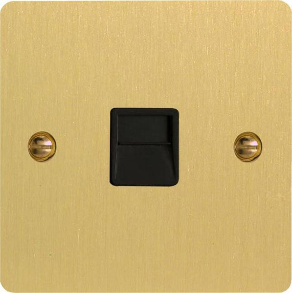 Varilight Ultraflat 1 Gang Telephone Socket - Brushed Brass (Black Inserts) - LED Bulb Centre Ltd