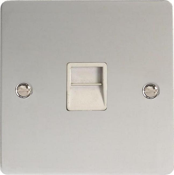 Varilight Ultraflat 1 Gang Telephone Socket - Polished Chrome (White Inserts) - LED Bulb Centre Ltd