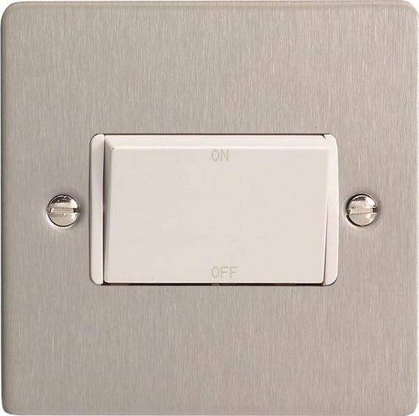 Varilight Ultraflat 10A Fan Isolating Switch (3 Pole) - Brushed steel (White Inserts) - LED Bulb Centre Ltd