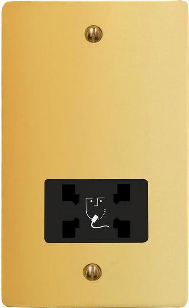 Varilight Ultraflat Dual Voltage Shaver Socket 240V/115V - Polished Brass (Black Inserts) - LED Bulb Centre Ltd