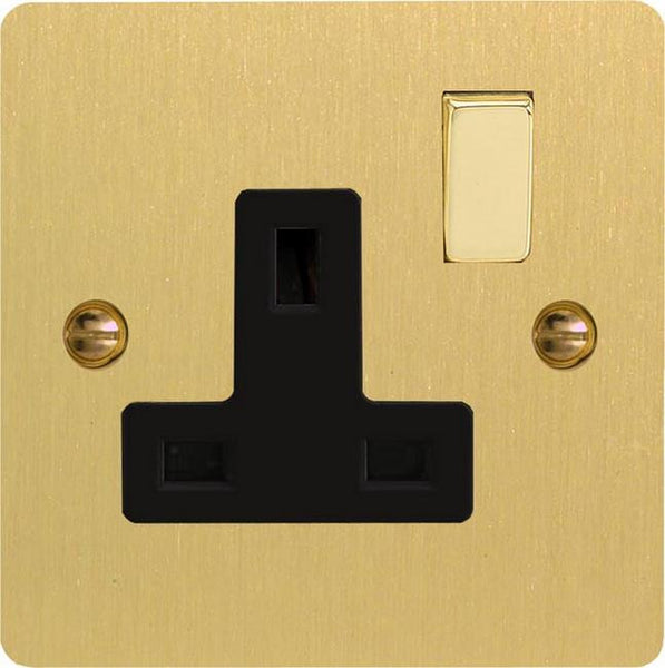 Varilight Ultraflat Standard Switched Sockets - Brushed Brass (Black Inserts) - LED Bulb Centre Ltd
