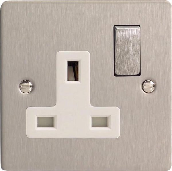 Varilight Ultraflat Standard Switched Sockets - Brushed Steel (White Inserts) - LED Bulb Centre Ltd