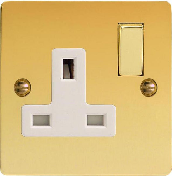 Varilight Ultraflat Standard Switched Sockets - Polished Brass (White Inserts) - LED Bulb Centre Ltd