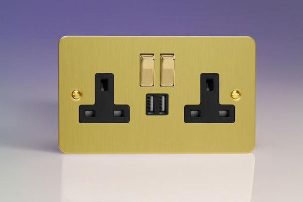 Varilight Ultraflat Standard Switched Sockets with USB - Brushed Brass (Black Inserts) - LED Bulb Centre Ltd