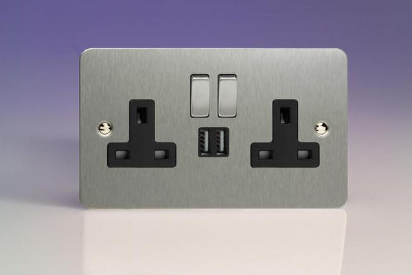 Varilight Ultraflat Standard Switched Sockets with USB - Brushed Steel (Black Inserts) - LED Bulb Centre Ltd